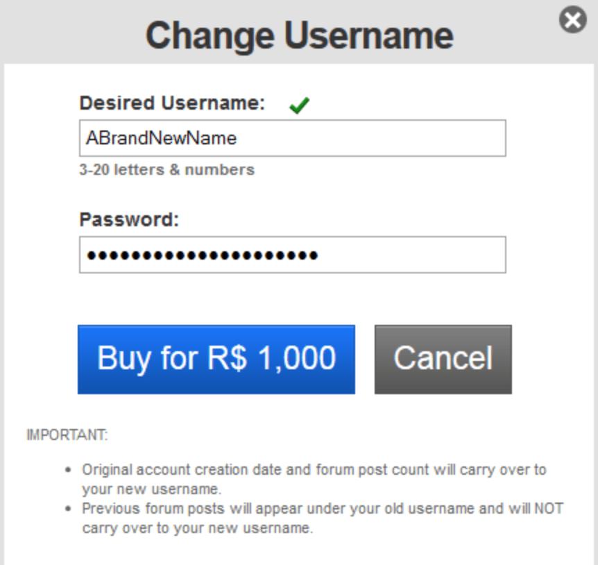 change roblox username