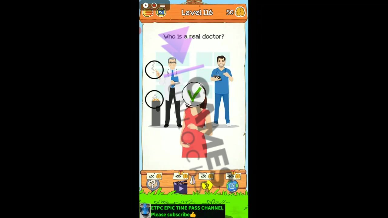 Braindom 2 Level 116 Who is a real doctor Answer