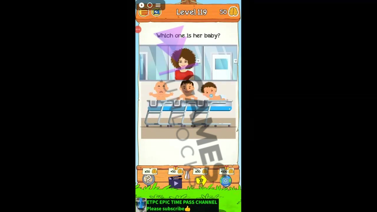 Braindom 2 Level 119 Which one is her baby Answer