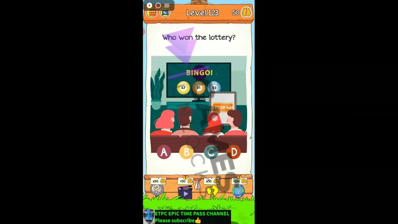 Braindom 2 Level 123 Who won the lottery Answer