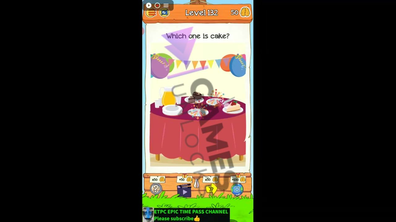 Braindom 2 Level 132 Which one is cake Answer