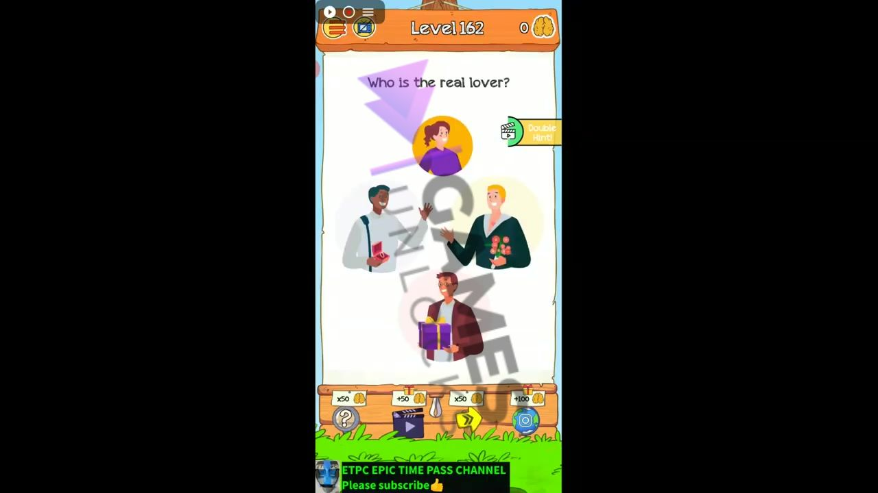 Braindom 2 Level 162 Who is the real lover Answer