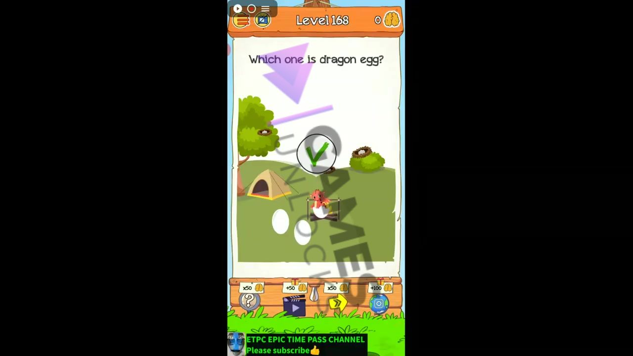 Braindom 2 Level 168 Which one is a dragon egg Answer