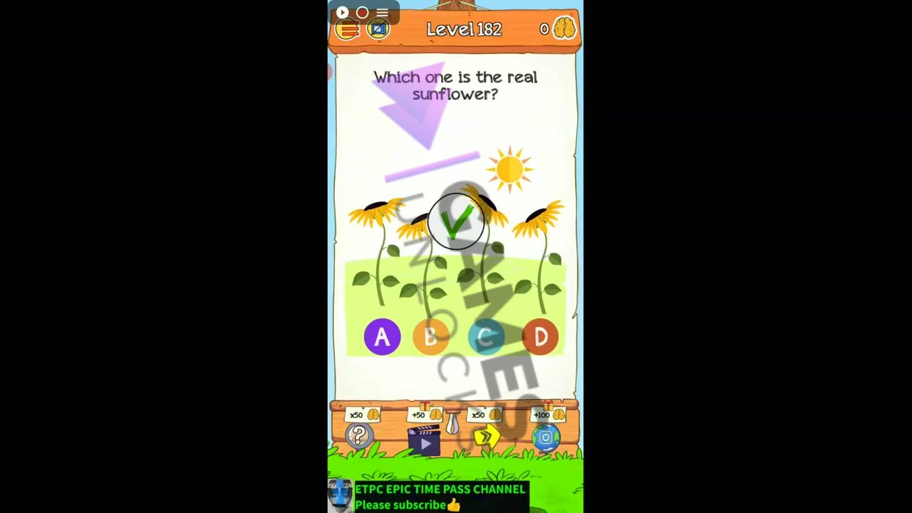 Braindom 2 Level 182 Which one is real sunflower Answer