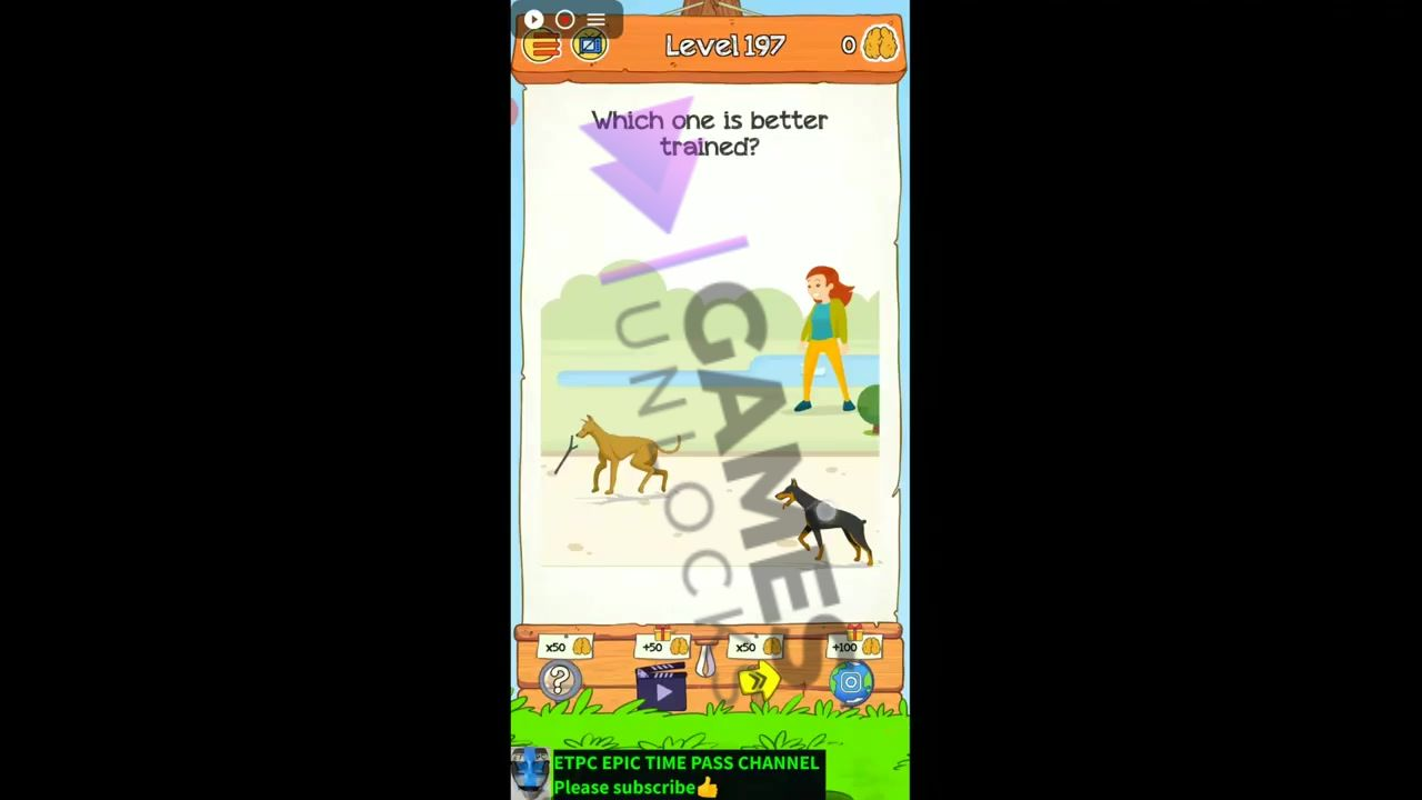 Braindom 2 Level 197 Which one is better trained Answer
