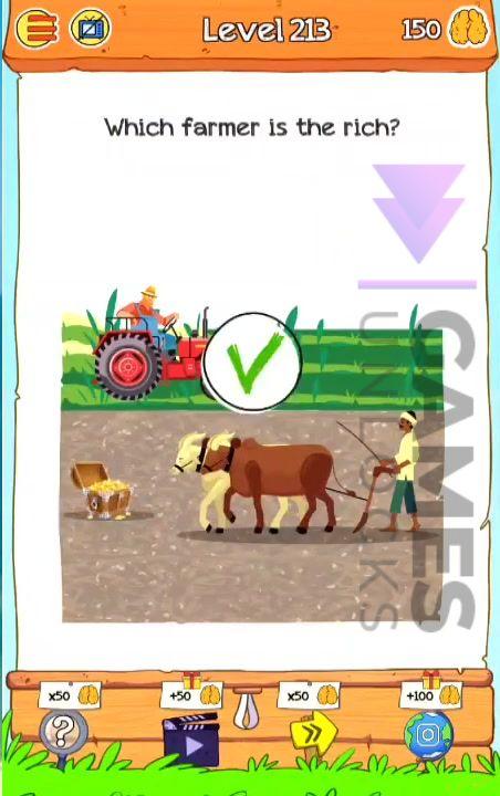 Braindom 2 Level 213 Which farmer is the rich Answer