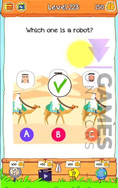 Braindom 2 Level 223 Which one is a robot Answer