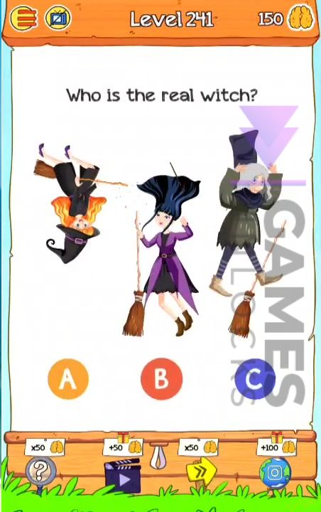 Braindom 2 Level 241 Who is the real witch Answer