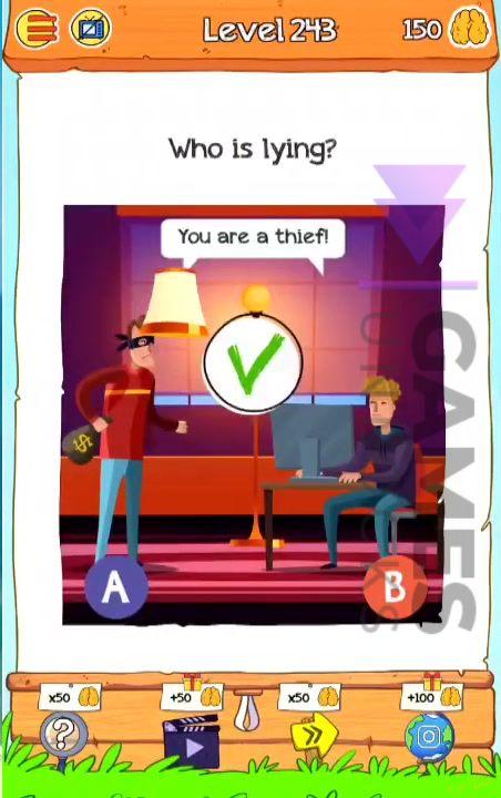 Braindom 2 Level 243 Who is lying Answer