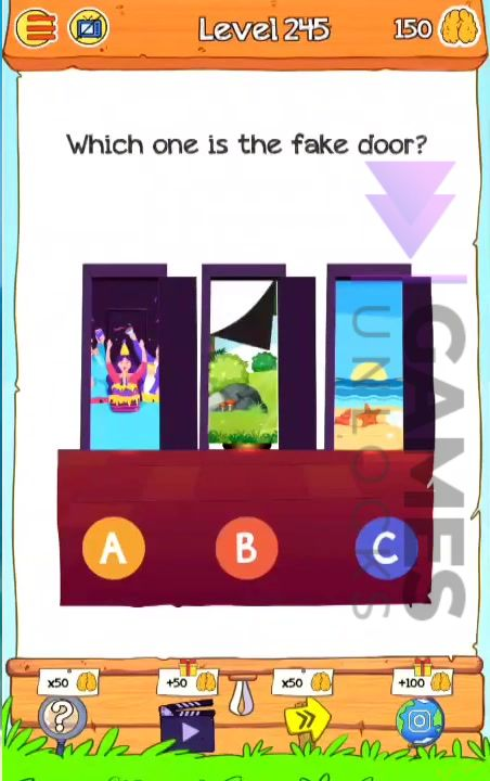 Braindom 2 Level 245 which one is the fake door Answer