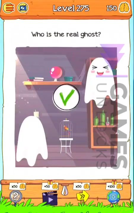Braindom 2 Level 275 Who is the real ghost Answer