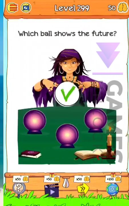 Braindom 2 Level 299 Which ball shows the future Answer