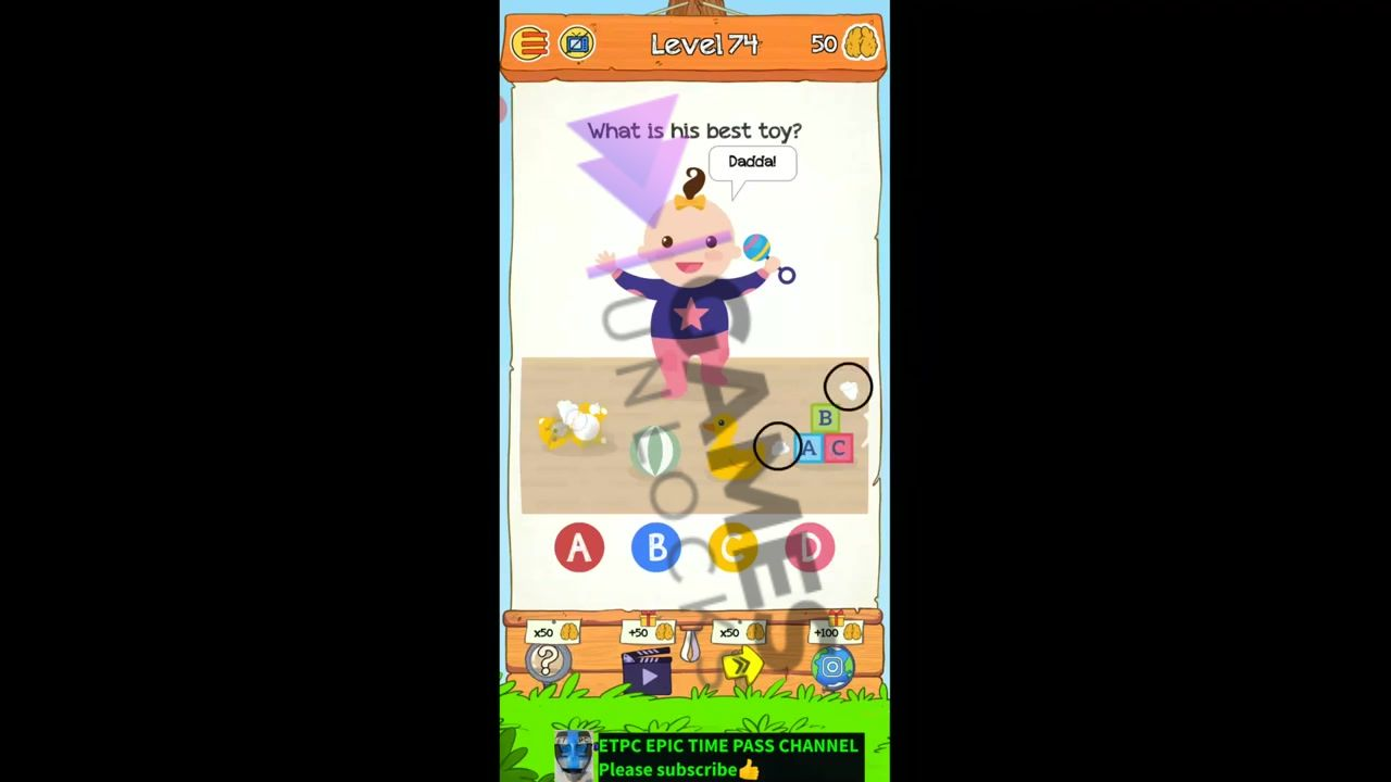 Braindom 2 Level 74 What is his best toy Answer