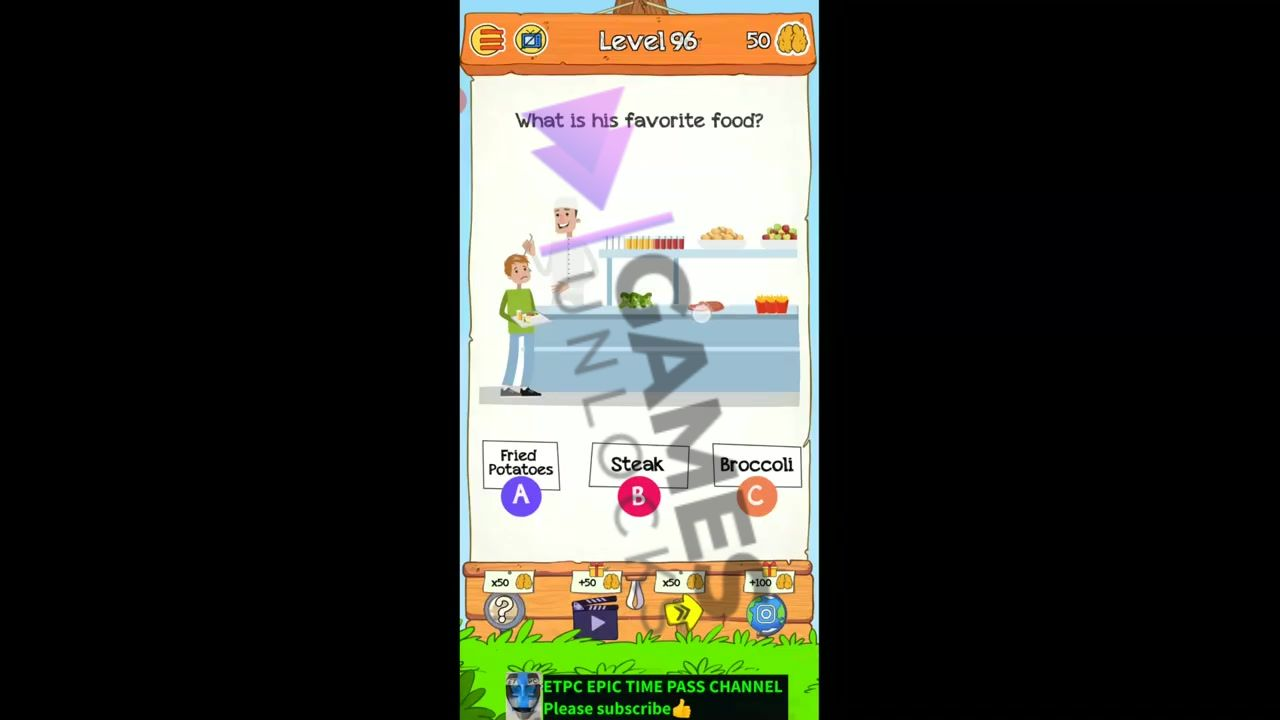 Braindom 2 Level 96 What is his favorite food Answer