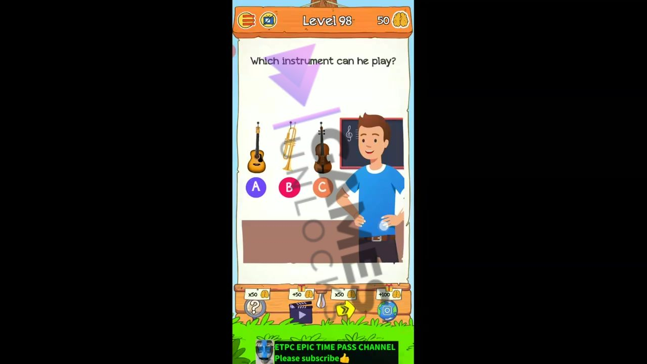 Braindom 2 Level 98 Which instrument can he play Answer